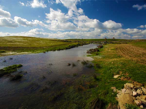 water stream through steppe land